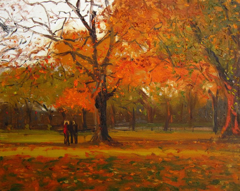 """Evening autumn Light, Clapham Common"" original fine art by Adebanji Alade"