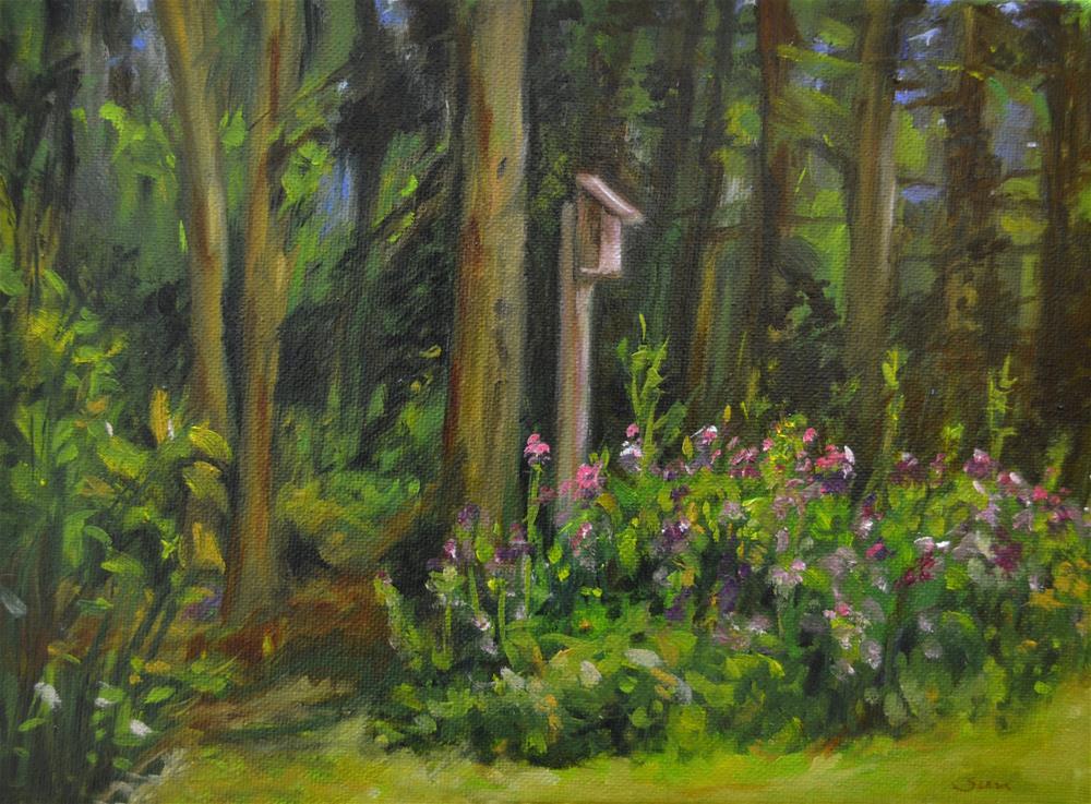 """Botanical Garden with bird house"" original fine art by Sun Sohovich"