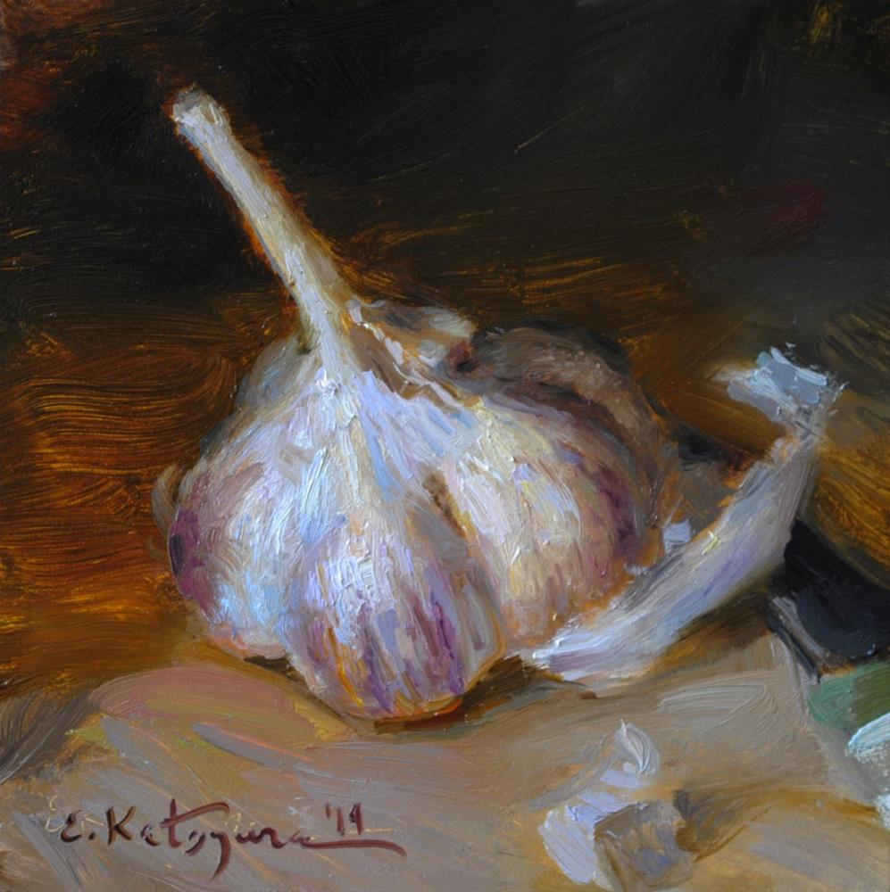"""One Garlic"" original fine art by Elena Katsyura"