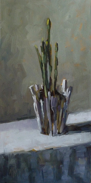 """Narcissus in a Brush Pot 16x8 oil on canvas panel"" original fine art by Mary Sheehan Winn"