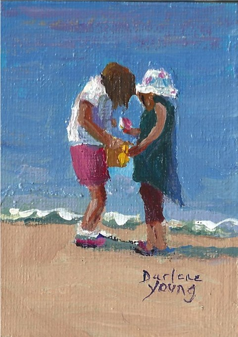 """943 Beach kids, miniature, 2.5x3.5"" original fine art by Darlene Young"