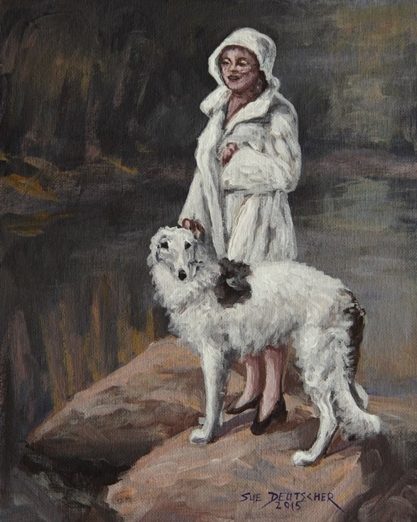 """Borzoi and Lady"" original fine art by Sue Deutscher"