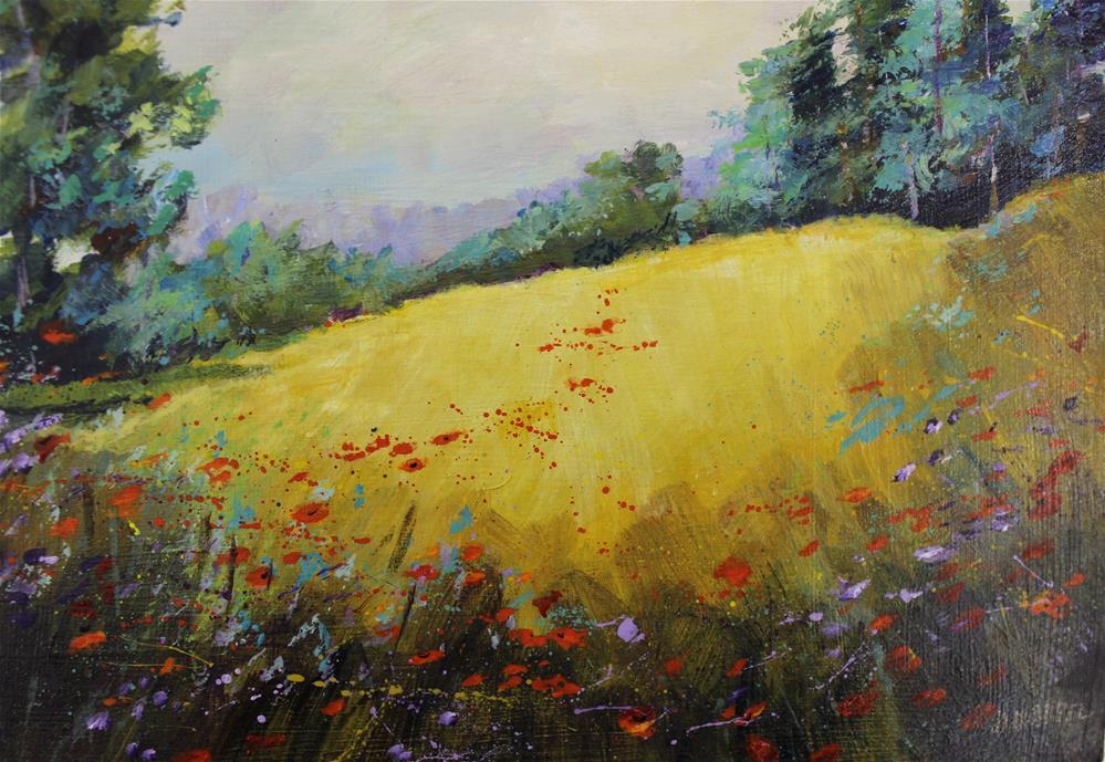 """""""Original Wildflower Meadow Landscape Poppy Art Painting"""" original fine art by Alice Harpel"""