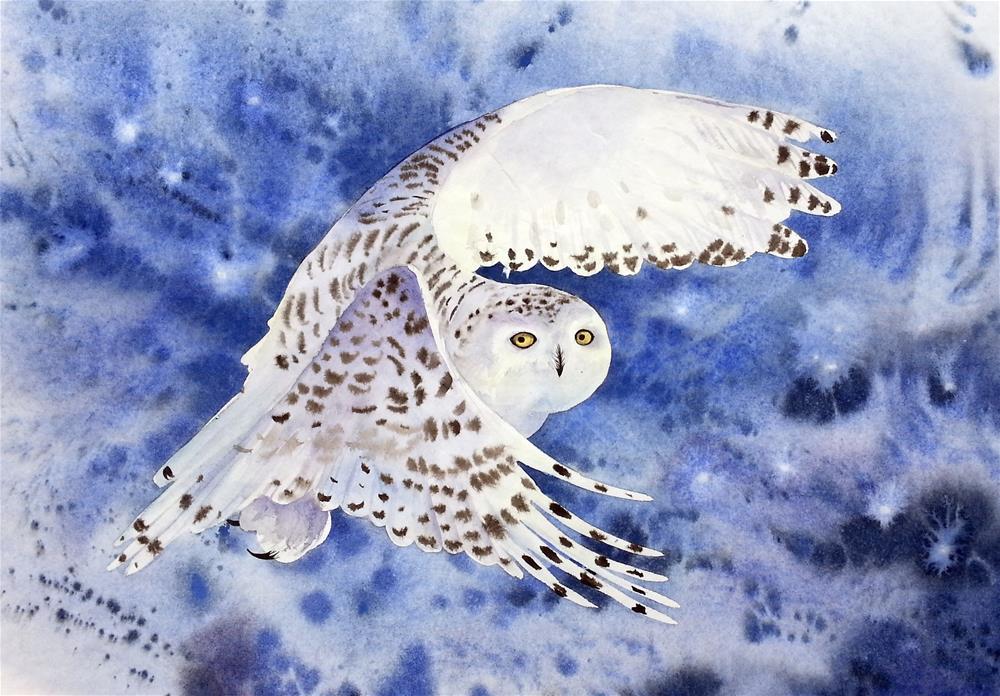 """Snowy Owl at Dusk in a Snow Storm"" original fine art by Olga Beliaeva"