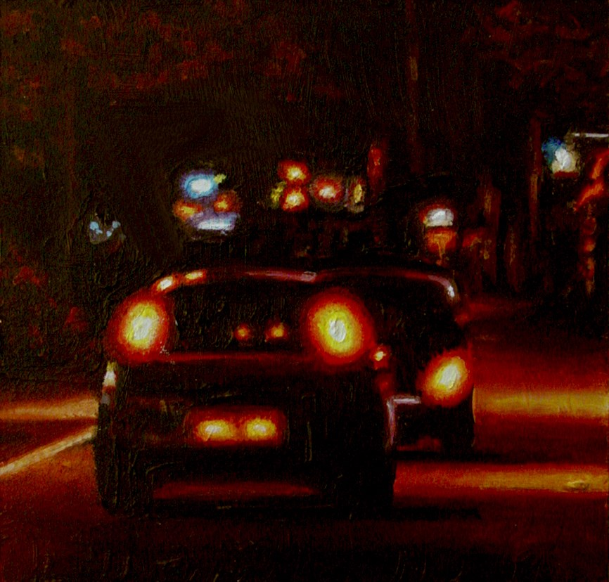 """Cars- Nocturnal City Scene Painting Of Two Cars"" original fine art by Gerard Boersma"