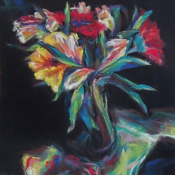 """""""BOUQUET - 8' x 8 still life pastel by Susan Roden"""" original fine art by Susan Roden"""