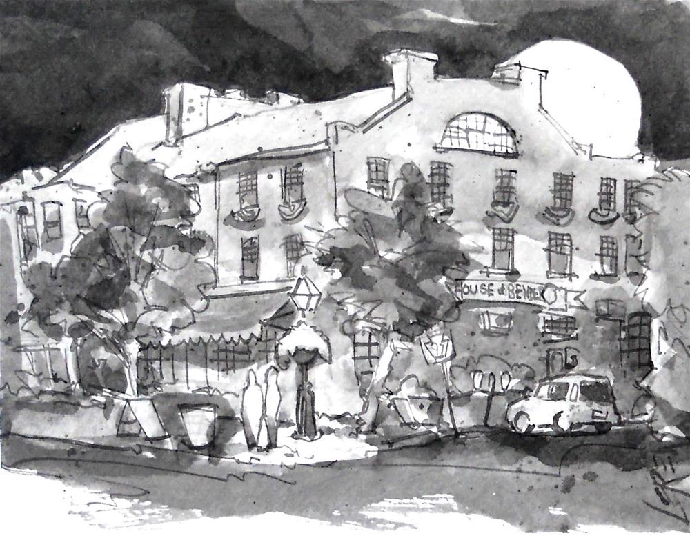 """Gettysburg Lincoln Square, Gettysburg, Pennsylvania by Larry Lerew #140605 Nocturnal, Wash Drawing"" original fine art by Larry Lerew"