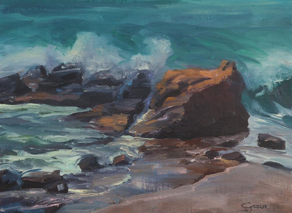 """Heisler Waves, Laguna Beach, 9X12"" original fine art by Pavel Gazur"
