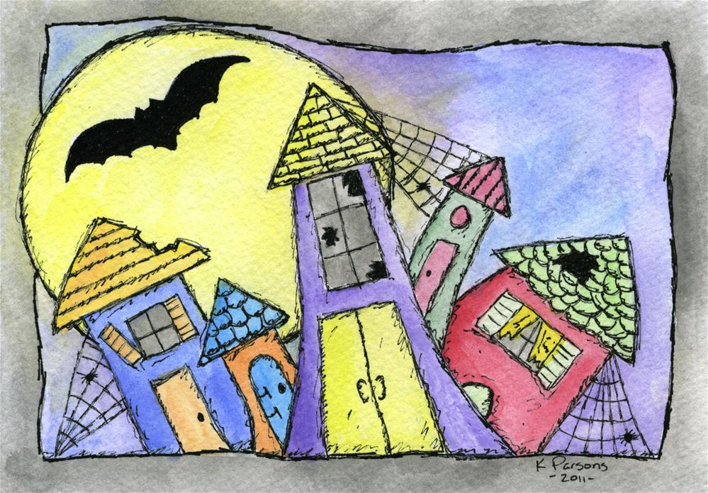 """Haunted Neighborhood"" original fine art by Kali Parsons"