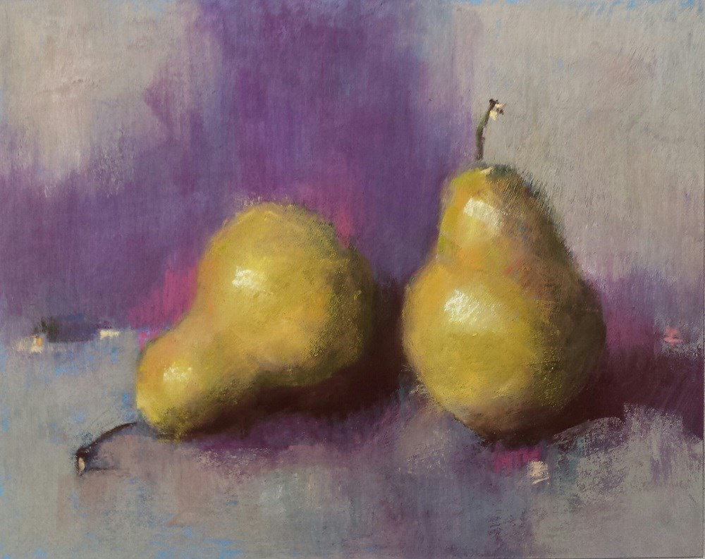 """Purple and Pears"" original fine art by Cindy Haase"