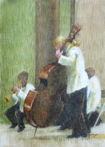 """The Bassist"" original fine art by Ginger Pena"