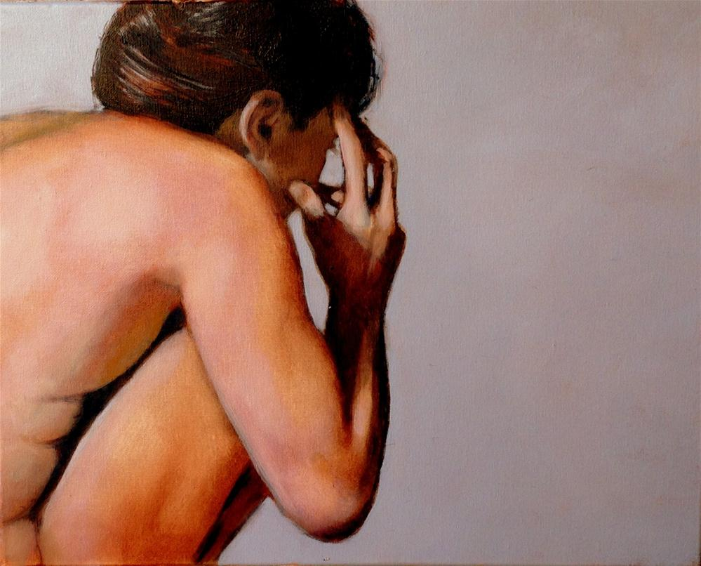 """Gray 16x20 framed oil on canvas"" original fine art by David Larson Evans"