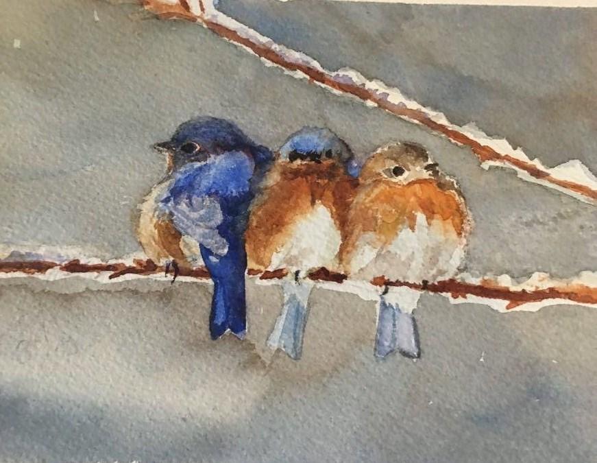 """""""bluebirds"""" original fine art by Kathryn Kittell"""