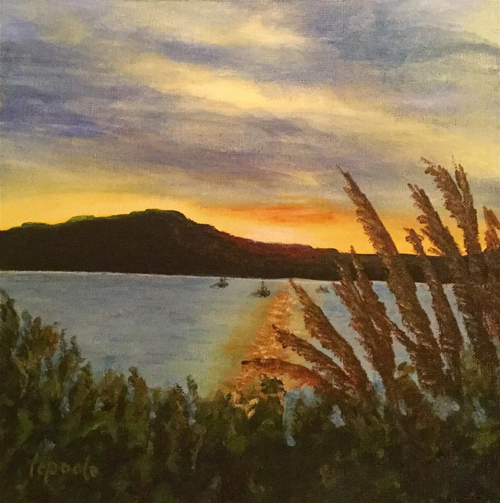 """""""Sunset Over Tomales Bay"""" original fine art by T.C. Poole"""