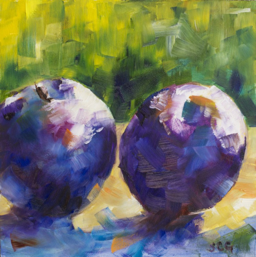"""Plum Study #1 in oil"" original fine art by Sue Churchgrant"