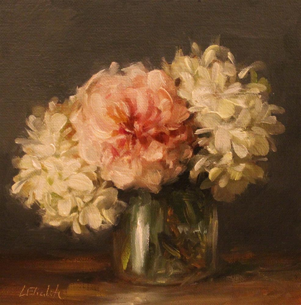 """Hydrangeas and rose in glass Vase"" original fine art by Carolina Elizabeth"