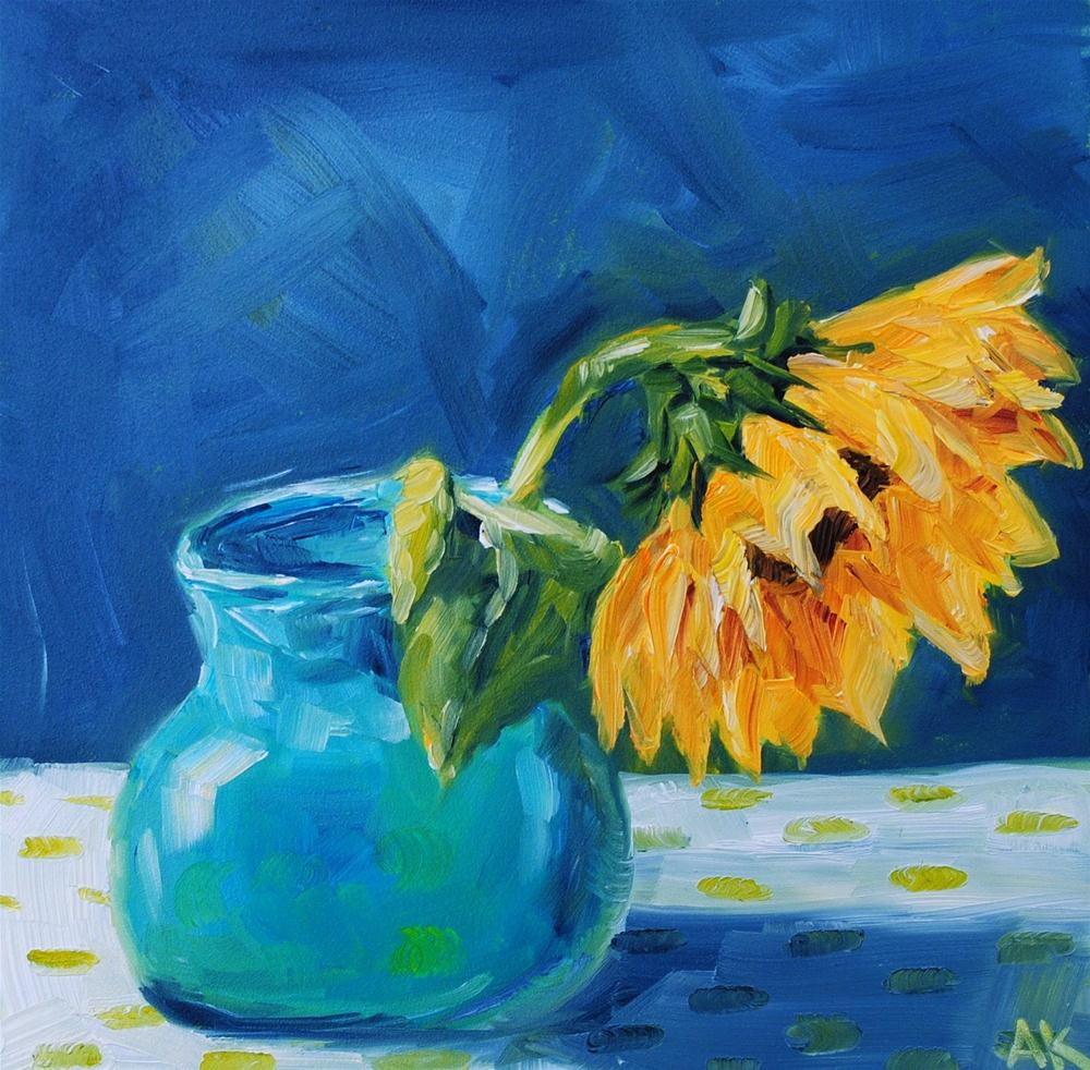 """Sunflower with Dots"" original fine art by Alison Kolkebeck"