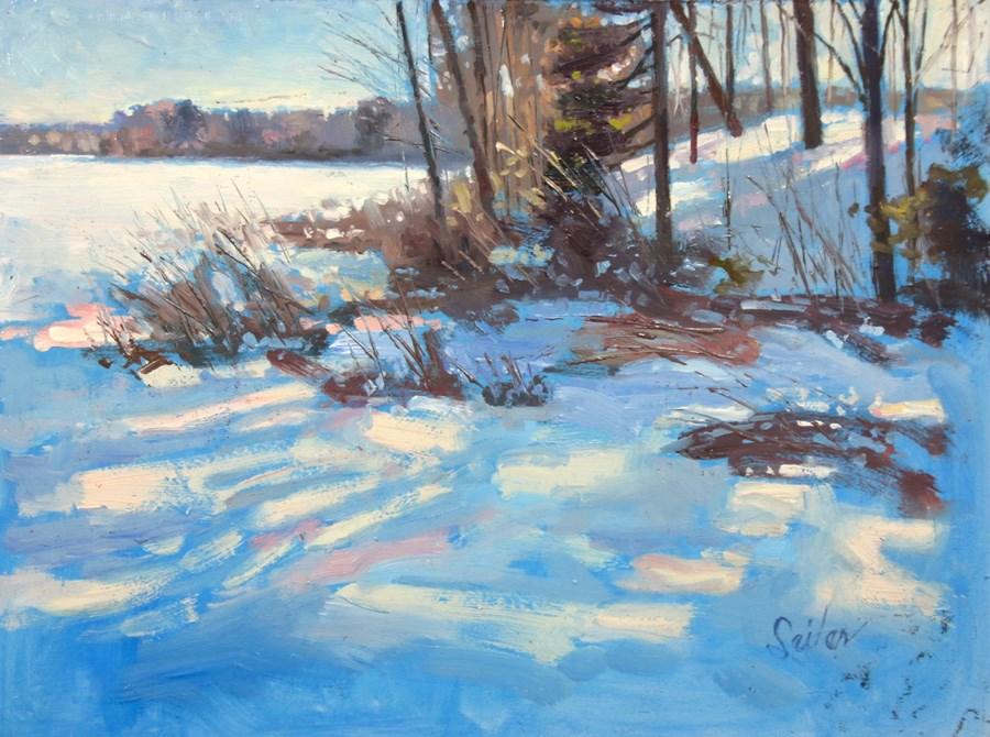 """""""Frozen Mill Pond"""" original fine art by Larry Seiler"""
