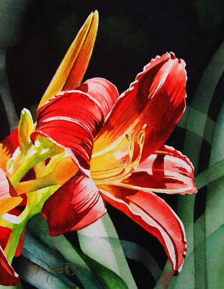 """Flaming Red Day Lily"" original fine art by Jacqueline Gnott, TWSA, WHS"