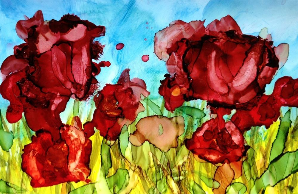 """Red Irises"" original fine art by Kelly Alge"