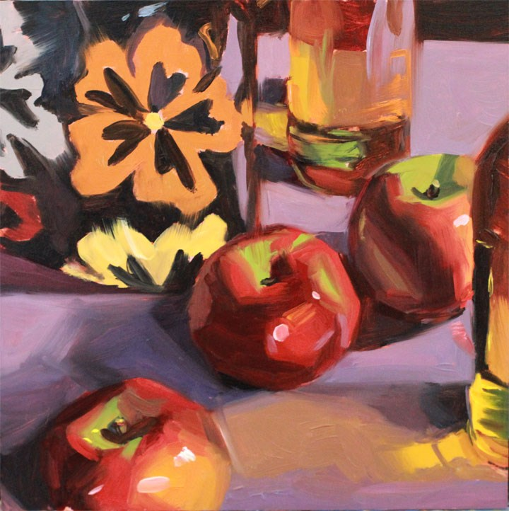 """""""Apples and Cider"""" original fine art by Nealy May Riley"""