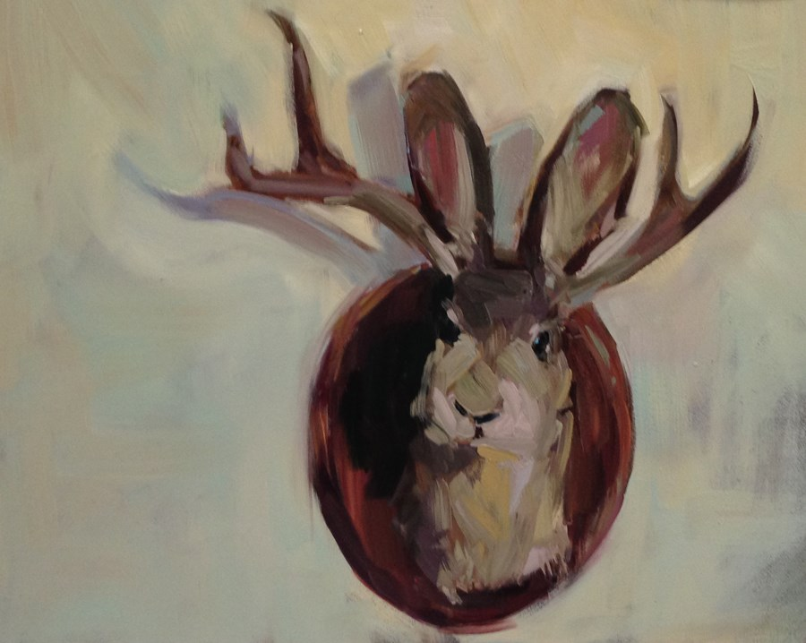 """J is For Jackalope, or Do These Antlers Make My Ears Look Big?"" original fine art by Patti McNutt"
