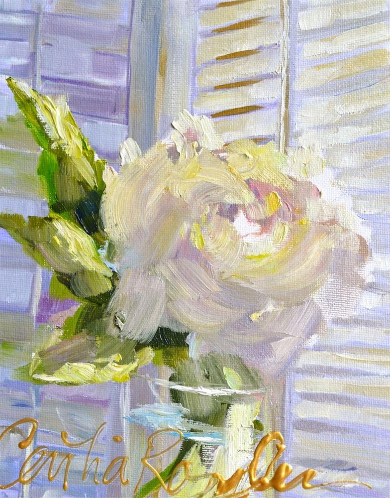 """White Rose"" original fine art by Cecilia Rosslee"