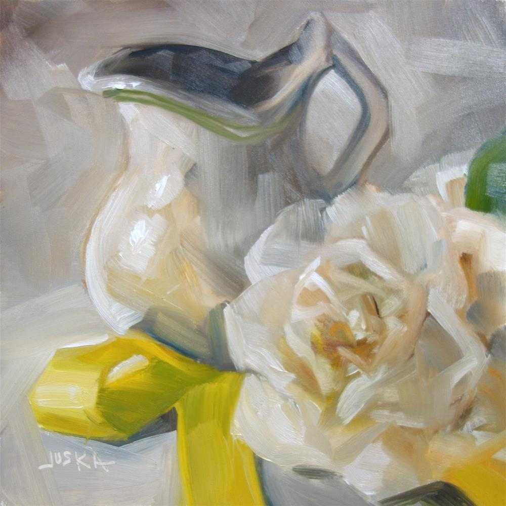 """Creamer and Yellow Ribbon"" original fine art by Elaine Juska Joseph"