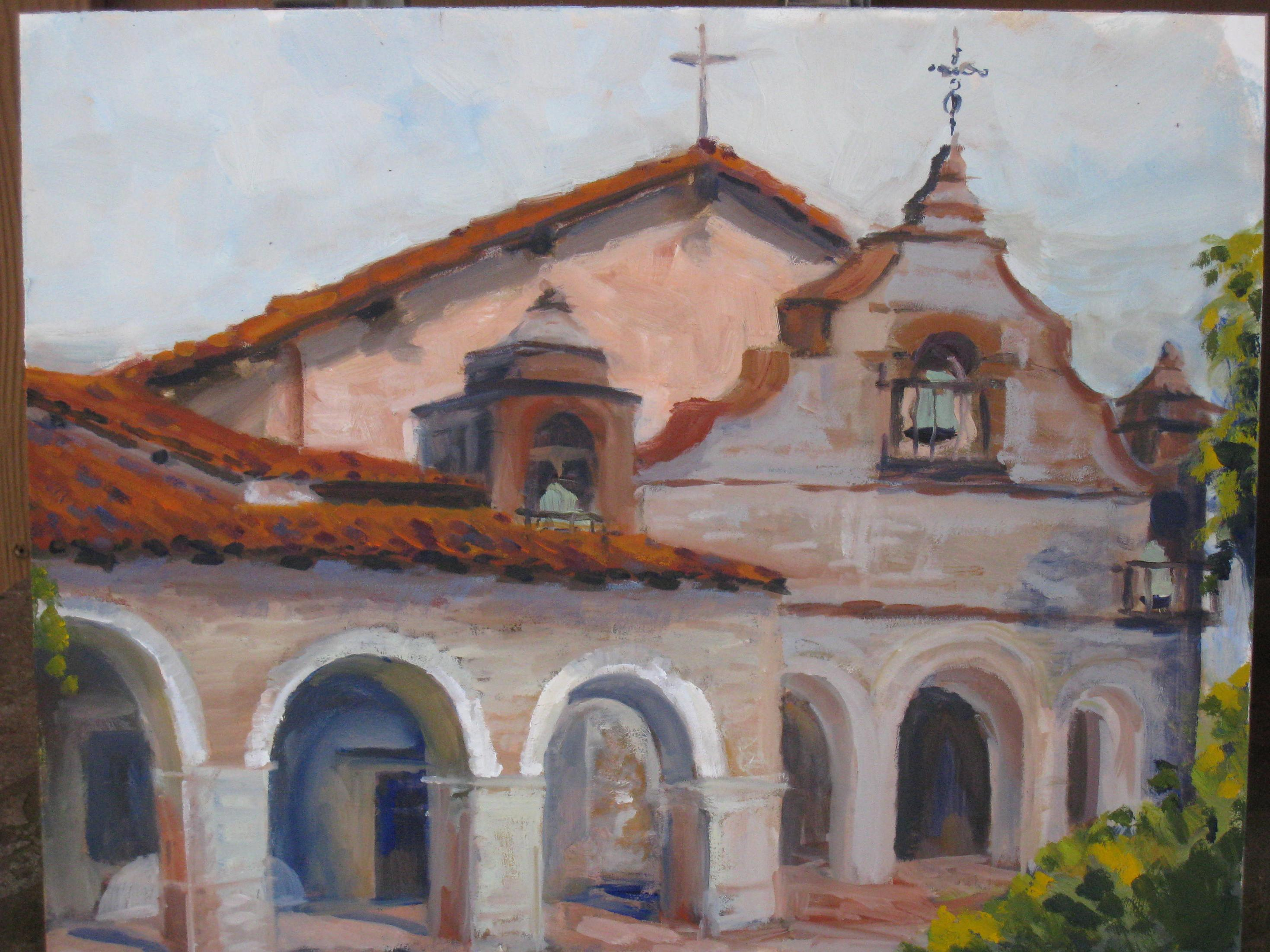 """Mission San Antonio"" original fine art by Leigh Alexandra Sparks"