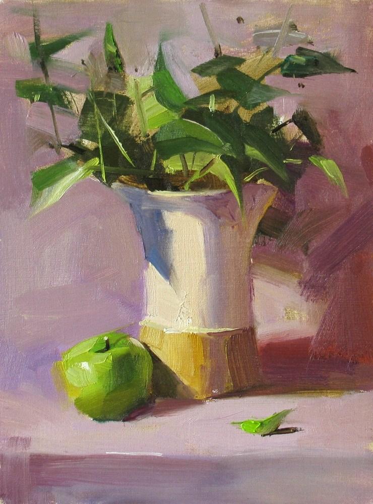 """Greens in Purple"" original fine art by Qiang Huang"
