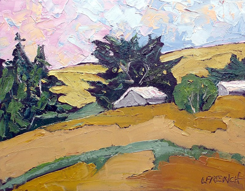 """North Coast Farm Barns"" original fine art by lynne french"