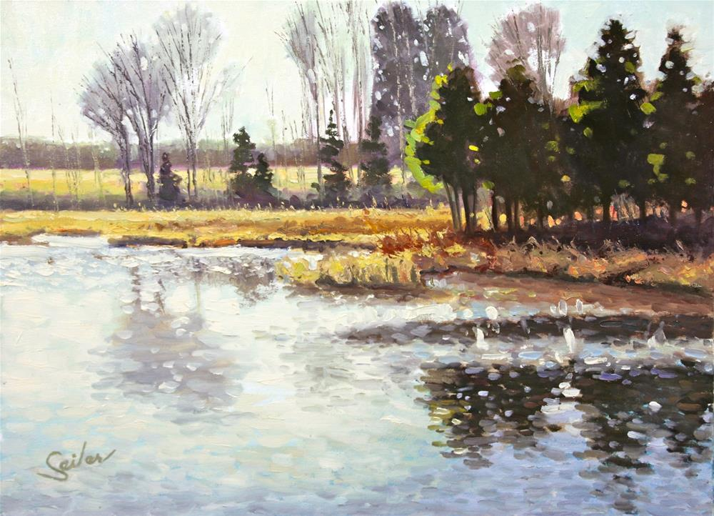 """Lazy Day on the Mill Pond"" original fine art by Larry Seiler"