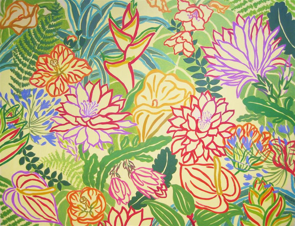 """Tropical"" original fine art by Priscilla Bohlen"