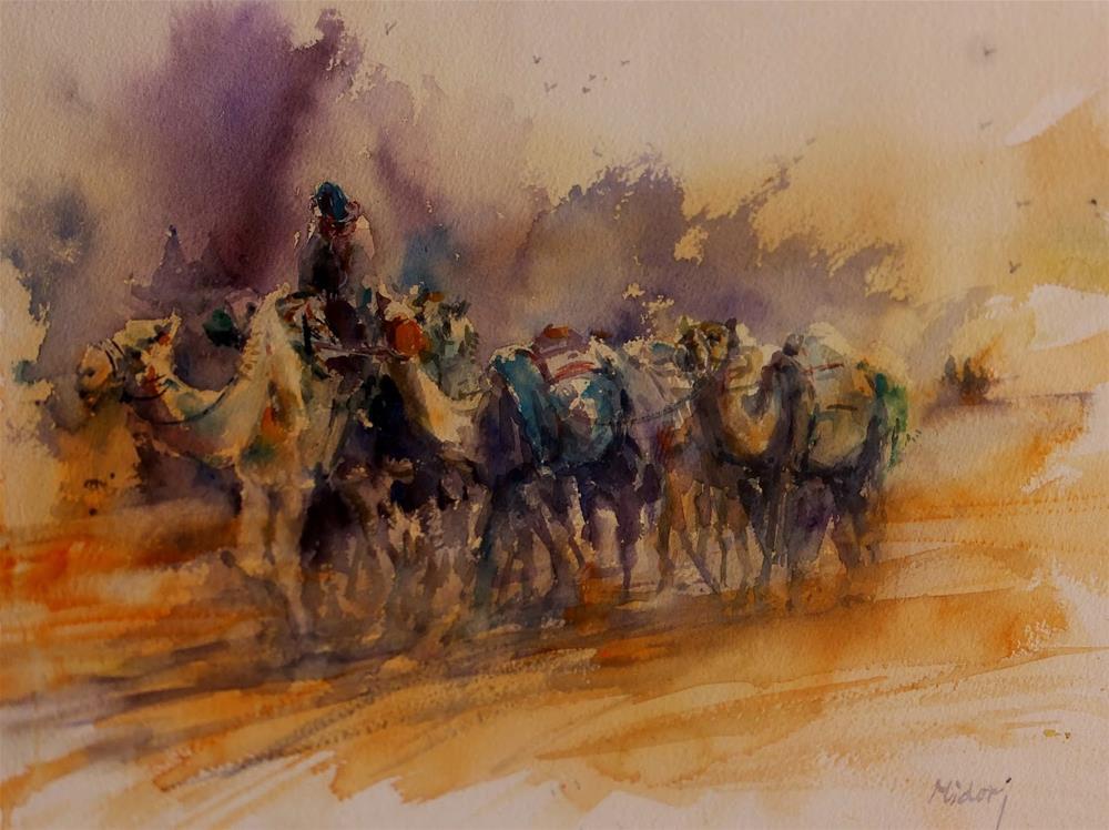 """Al Ain Camel racetrack 1"" original fine art by Midori Yoshino"