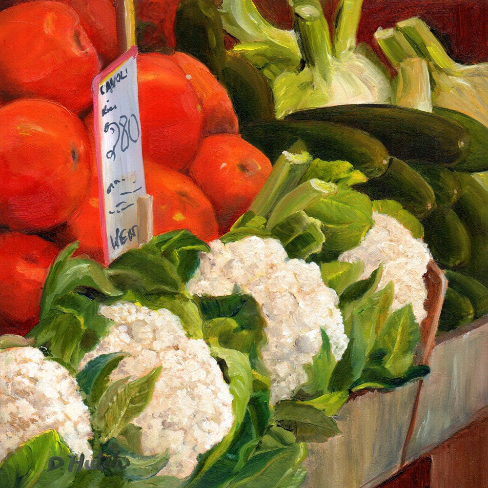 """Market Series #4, Tomatoes and Cauliflower"" original fine art by Diane Hutchinson"