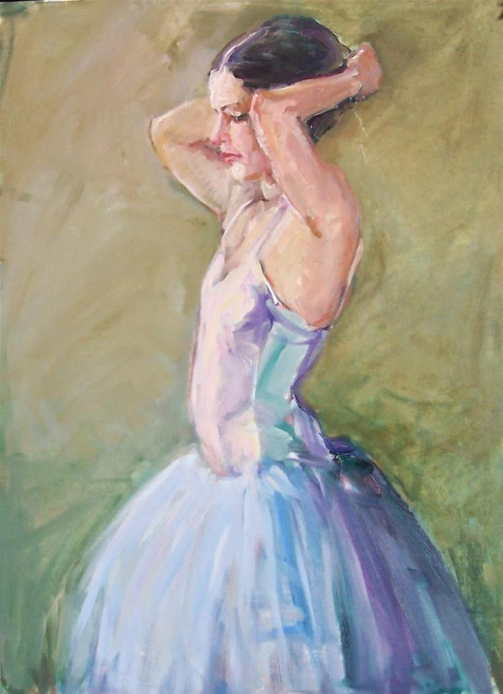 """Nicole Fixing her Hair,figure,oil on canvas board,24x18,price$575"" original fine art by Joy Olney"
