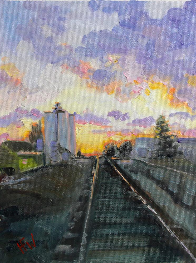 """Sunset Railroad"" original fine art by H.F. Wallen"