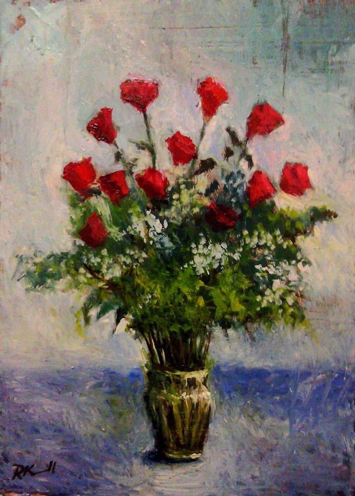 """A Dozen Roses"" original fine art by Bob Kimball"