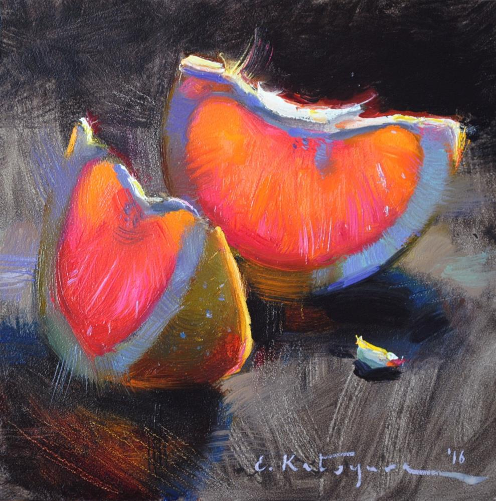 """Grapefruit Slices"" original fine art by Elena Katsyura"