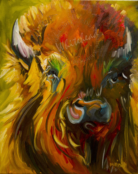 """BISON BUFFALO WILD LIFE ANIMAL ART DIANE WHITEHEAD ORIGINAL OIL PAINTING"" original fine art by Diane Whitehead"