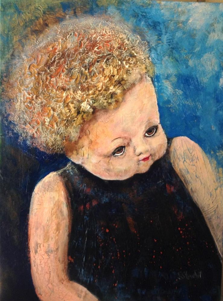 """12x16 Old Dolly Cracked Peeling Face Acrylic on Canvas Board by Penny StewArt"" original fine art by Penny Lee StewArt"