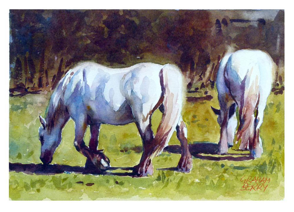 """Grazing horses."" original fine art by Graham Berry"