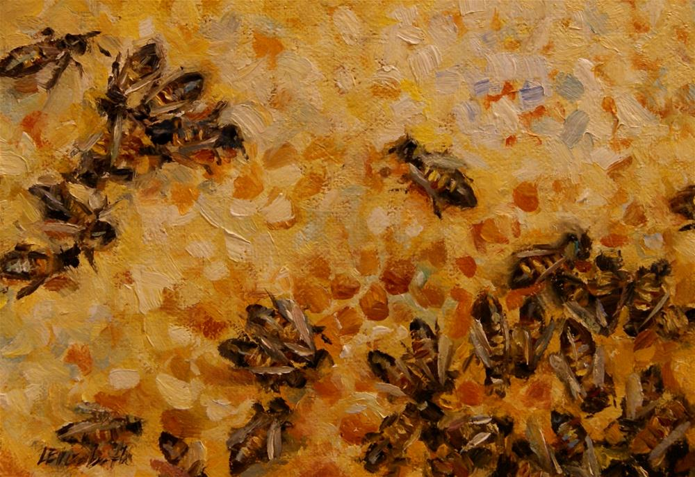 """Bees on Honey Panel"" original fine art by Carolina Elizabeth"