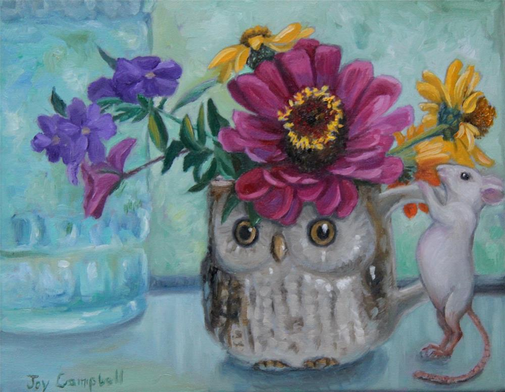 """Little Mouse Loves Flowers"" original fine art by Joy Campbell"
