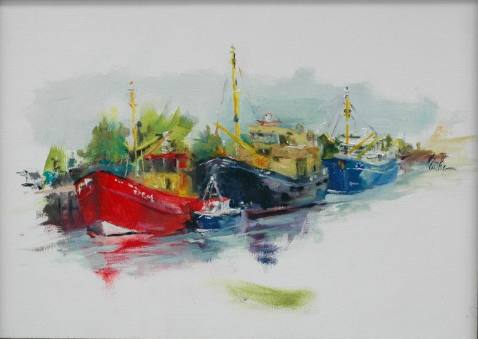 """Alongside the quays - AITO day 1"" original fine art by Evelyne Heimburger Evhe"