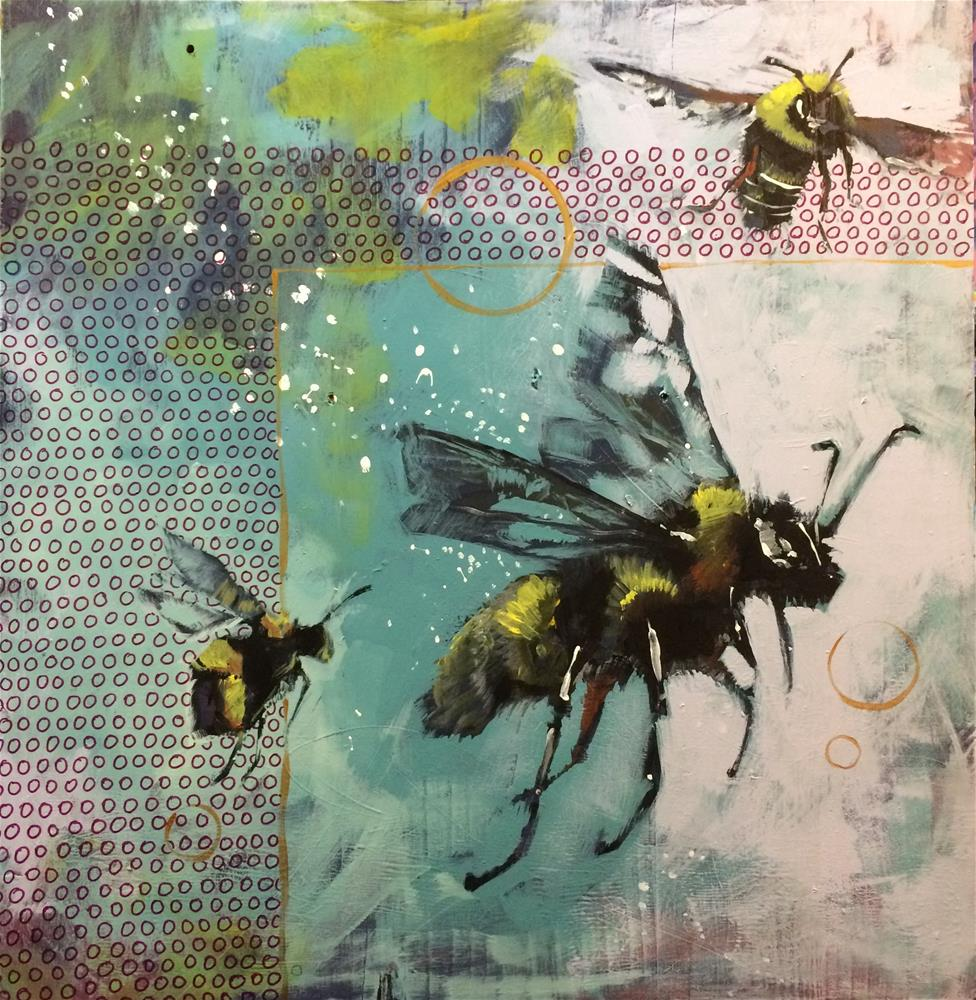 """Three Bees"" original fine art by Teddi Parker"