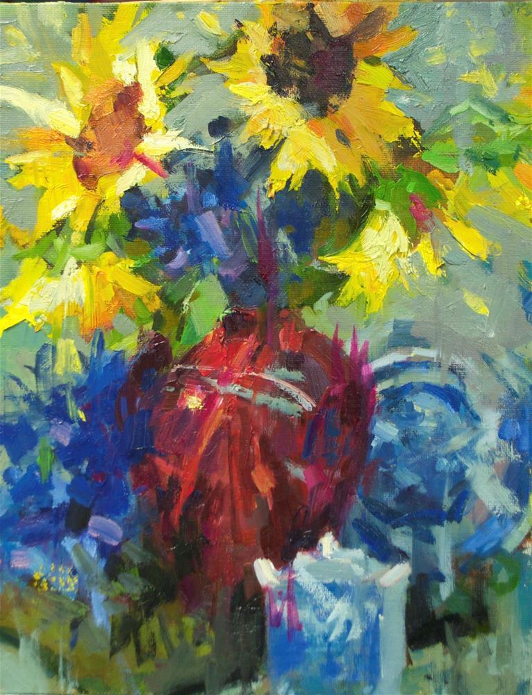 """yellow&blue"" original fine art by Emiliya Lane"