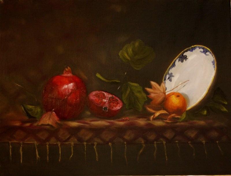 """Pomegranates with Orange"" original fine art by Mary Datum"