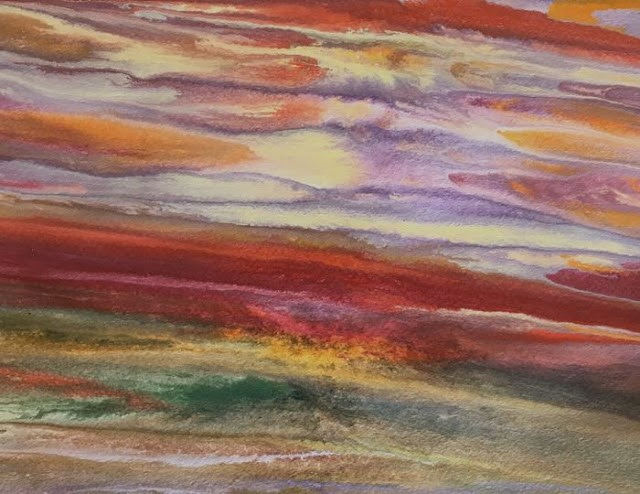 """Abstract Landscape,Sunset Art  Sunset Reflections- Study VI by Colorado Contemporary Artist Kimber"" original fine art by Kimberly Conrad"