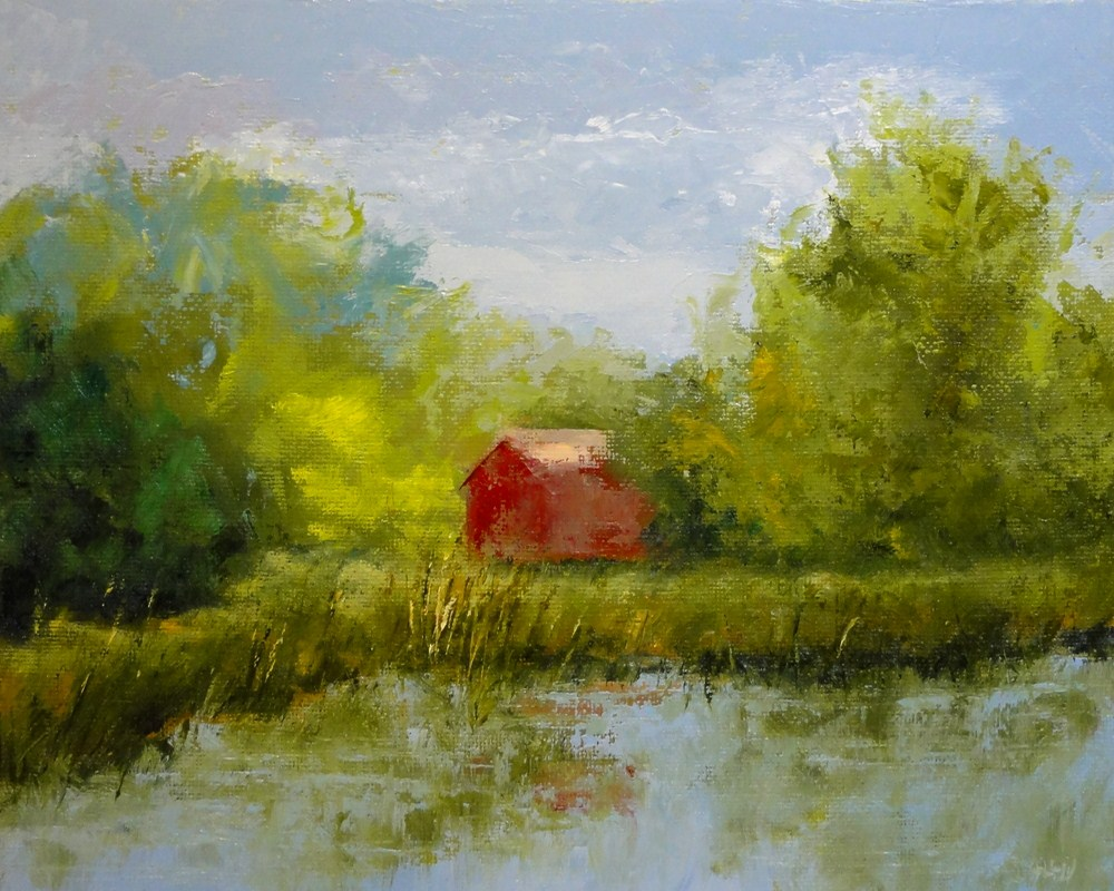 """Red Barn Across The Pond"" original fine art by Dalan Wells"